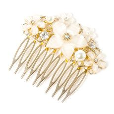 Ivory Glitter Stone Flower and Pearl Cluster Hair Comb