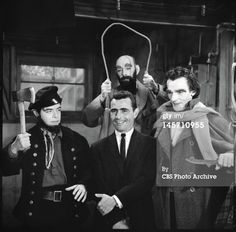 Twilight Zone, The New Exhibit, our host, Rod Serling (pictured front center) starring Martin Balsam, Will Kuluva