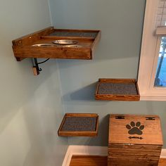 Set of Four: Three Floating Cat Cube Shelves and One Floating Cat Bed Floating Cat Shelves, Diy Cat Shelves, Cube Shelves, Cat Feeding Station, Cat Wall Furniture, Cat Cube, Cat Stairs, Reclaimed Wood Shelves, Cats Diy