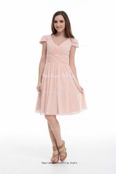 A-Line Princess Short Sleeve V-neck Chiffon Bridesmaid Dress/Homecoming Dress/Prom Dress With Ruffle