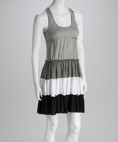 Take a look at this Just Love Light Gray & Black Color Block Racerback Dress by Just Love on #zulily today!