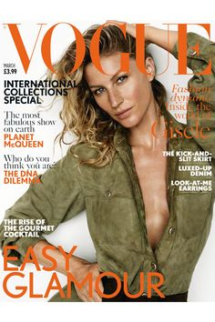 Gisele lands the March cover of British Vogue shot by Mario Testino