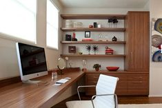 large desk with shelves and contemporary furniture for home office