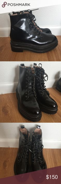Jeffery Campbell Leather Combat Boots Leather Platform Combat boots. Runs 1/2 size small . (Size 10 fits like size 9.5) Jeffrey Campbell Shoes Combat & Moto Boots