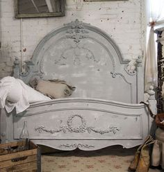 Painted Cottage Dove Grey Queen Romance Bed - $1,195.00 : The Painted Cottage, Vintage Painted Furniture
