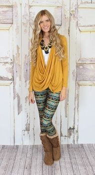 drape mustard blouse and leggings Modern Vintage Boutique