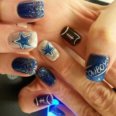 Football nail art designs are varied to adorn your nails in welcoming the football super bowl festive; there are many colors and patterns you can choose. Dallas Cowboys Nail Designs, Football Nail Designs, Dallas Cowboys Nails, Football Nail Art, Cowboys Football, Cute Nails, Pretty Nails, Cowboy Nails, Nagel Gel