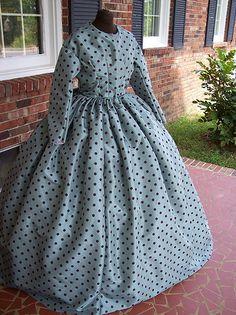 aqua polka dot civil war gown