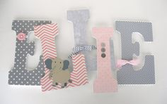 Pink and Gray Nursery Wall Letters by LetterLuxe - Custom letters for baby girl bedroom https://www.etsy.com/listing/202813877/custom-wood-nursery-letters-pink-and?ref=shop_home_active_9