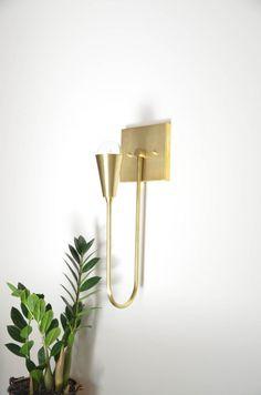 Brass wall sconce . Modern Wall Lamp . Modern Sconce .  UL Listed - Harvey