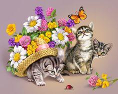 Схема вышивки «3 шаловливых котенка» - Схемы вышивки - martino3 - Авторы - Портал «Вышивка крестом»
