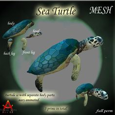 This gorgeous mesh sea turtle comes in 4 individual parts to make animating a breeze. The fully linked low land impact is only 3! So much beauty for a mere land impact of 3. Please read and adhere to the terms of use which apply to all full permission Fantasy China products.