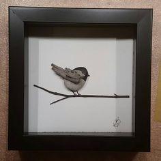 chickadee made from rocks