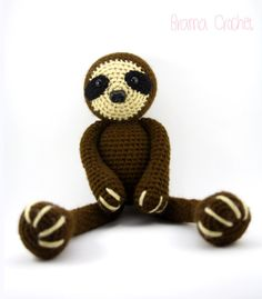 Sloth crochet amigurumi doll plush by BramaCrochet on Etsy, $42.80