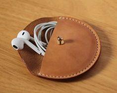 Kopfhörer Kabel Veranstalter Ohrhörer von LeatherWorldHandmade