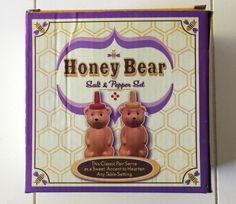 NIB Honey Bear Salt and Pepper Shaker Set Ceramic NEW IN BOX