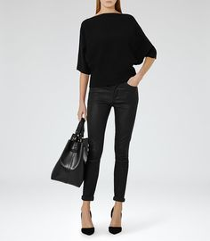 REISS - OLYMPIA KNITTED BATWING-SLEEVE TOP