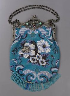 Western European Bag 1850-1880.  @ MFA Boston.  Cotton and bead work.