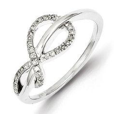 Sterling Silver w/ Diamond Design Ring