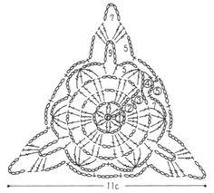 Stola dai motivi triangolari Crochet Triangle, Crochet Circles, Crochet Granny, Filet Crochet, Crochet Bunting, Crochet Blocks, Crochet Doilies, Crochet Motif Patterns, Crochet Diagram