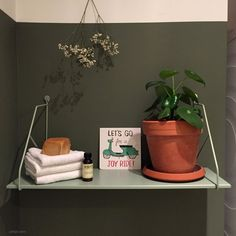 aménagement déco wc buanderie esprit green étagère murale Inspiration Wc, Joy Ride, Shelfie, Planter Pots, Aide, Decoration, Instagram, Design, Laundry Hamper
