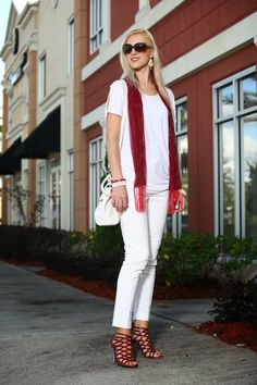 red scarf, white pants, white loose top, red strappy shoes, white purse, work outfit http://www.kslookbook.com/2013/12/vanilla-cherry.html