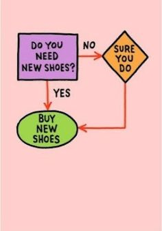 Tried and true logic: buy new shoes.  #quote (Pre-WFH job, this was sound logic. But now I barely ever even wear shoes at all...)