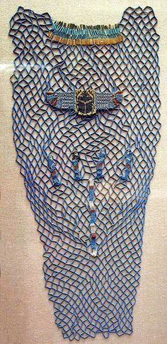 Bead Shroud of Tabakenkhonsu - Period: Late Period, Kushite - Dynasty: Dynasty 25 -  Date: ca. 680–670 B.C. -  Geography: Egypt, Upper Egypt; Thebes, Deir el-Bahri, Temple of Hatshepsut, Hathor Shrine, pit in hypostyle hall -  Medium: Blue faience beads