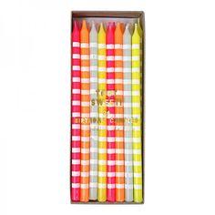 Meri Meri Toot Sweet Geburtstagskerzen gestreift neon pastell - Bonuspunkte sammeln, Kauf auf Rechnung, DHL Blitzlieferung!
