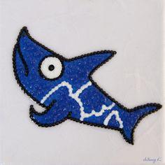 "by. JuYoung.K [Energetic Shark : No.1],  12 x 12cm, 2014 mixed media on canvas, ""A""  #landscape #art #painting #artwork #artist #fineart #contemporaryart #cloud #sun #interior #shark #animal"