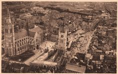 Ypres..The aerial shot shows that the Cathedral of St. Martin has been reconstructed following the Great War because it now has a taller spire than it did before the war..  The Menin Gate can be seen in the top right of the photograph