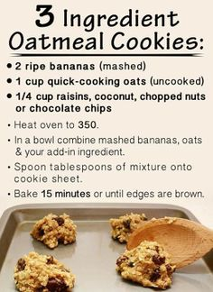 Easy Healthy Cookie Recipes With Few Ingredients.The Best Soft Chocolate Chip Cookies Recipe Pinch Of Yum. Crpes Recipe Joyofbaking Com *Video Recipe*. How To Make Oatmeal Cookies : Food Network Recipes . Healthy Cookies, Healthy Sweets, Healthy Baking, Healthy Oatmeal Raisin Cookies, Eating Healthy, Healthy Cookie Recipes, Healthy Breakfasts, Healthy Food, Cookies With Bananas