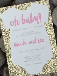 25 Die Cut Shaped Baby Shower Invitations With A Glitter Cardstock Backing.  Customize Them With