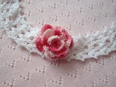 Crochet Girls Head Bands...White Baby head band with Pink Flower...Victorian head band... Baby rose headband...Christening Gift. $12.50, via Etsy.