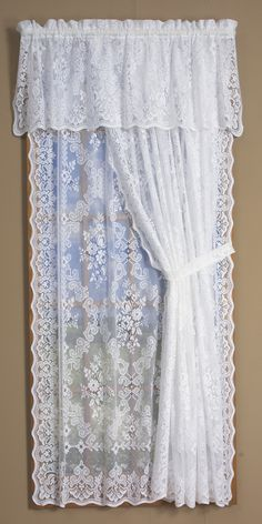 Your favorite country curtains now at queens lace window treatment hallie magnolia lace curtain panel lace curtains traditional and lace valances balloon shades swags mWisteria Arbor Lace Window TreatmentsLace Curtains Traditional And. Dark Blue Curtains, Rose Curtains, Hanging Curtains, Sheer Curtains, Cortinas Shabby Chic, Shabby Chic Curtains, Curtain Styles, Curtain Designs, Lace Curtain Panels