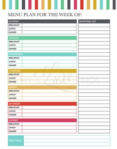 Menu Planning Printable - Meal Planner & Grocery List