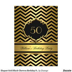 Elegant Gold Black Chevron Birthday Party 4.5x6.25 Paper Invitation Card