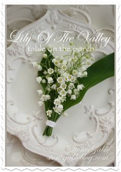 LILY OF THE VALLEY TABLESCAPE: pretty and simple outdoors tablescape with the cutest lilly bouquets and a menu!