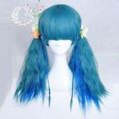 Harajuku-Long-Corn-Curly-Wavy-Hair-Full-Wig-Lolita-Synthetic-Cosplay-Blue-Ombre