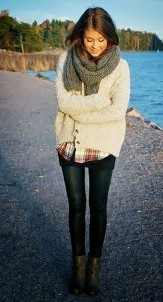 Gorgeous White Sweater,Black Tight Jeans, Stylish Scarf, Suitable Shoes