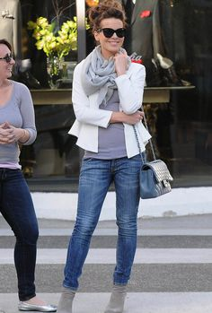 Kate Beckinsale can I just have her style NOW hair scarf outfit LOVE
