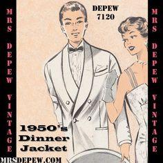 1950's Style Tuxedo Dinner Jacket #7120 pattern by Mrs. Depew Vintage.