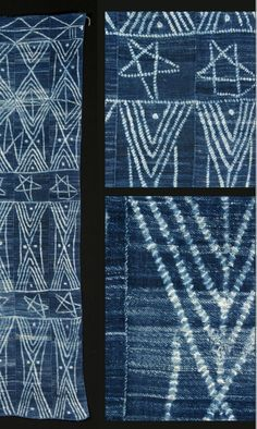 Africa | Details from a woman's wrapper from the Dogon people of Mali | 20th century | Indigo resist dyed cotton plain weave | Unusual piece as most of the Dogon wrappers are usually only tie dyed dots
