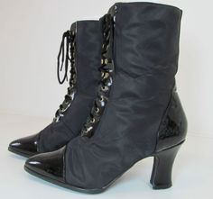 VINTAGE LORENZETTI STEAMPUNK GOTH BLACK PATENT NYLON BOOTS UK 6 EURO 39 R11166 http://stores.ebay.co.uk/Sangriasuzies-Emporium http://www.sangriasuzie.com/ If any of the  items pictured in this blog/pin take your fancy they can be bought from one of the above addresses.  Or e-mail me at drobertshq@hotmail.com   if you need more info.