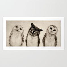 The Owl's 3 Art Print by Isaiah K. Stephens | Society6