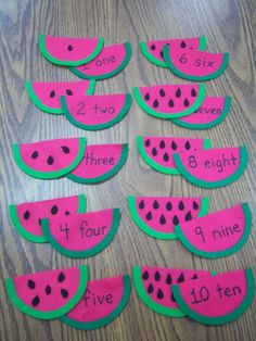watermelon seed counting - place a small piece of velcro on the front of the seeded melons and the matching velcro on the back of numbered melon. Summer Preschool Themes, Preschool Learning Activities, Preschool Lessons, Kindergarten Math, Preschool Activities, Summer Themes, Spring Activities, Daycare Crafts, Crafts For Kids
