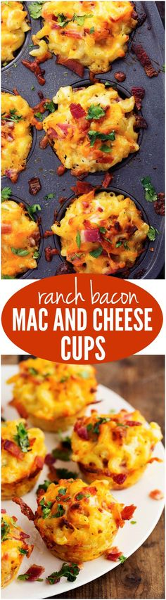 Delicious mac and cheese cups baked into cute little portions. These are packed with amazing bacon, cheese, and ranch flavor and are going to be loved by kids and adults!