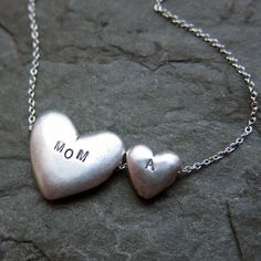 Personalized+Mom+necklace++nesting+hearts++recycled+by+metalicious,+$142.00