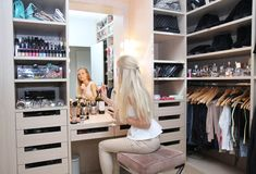 Love this! getting ready with wine in a gorgeous room, full of clothes, bags, and shoes, oh and make up!!