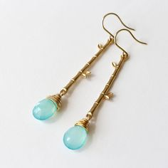 Aqua Blue Chalcedony Drop and Gold Bamboo Earrings by YuniDesigns
